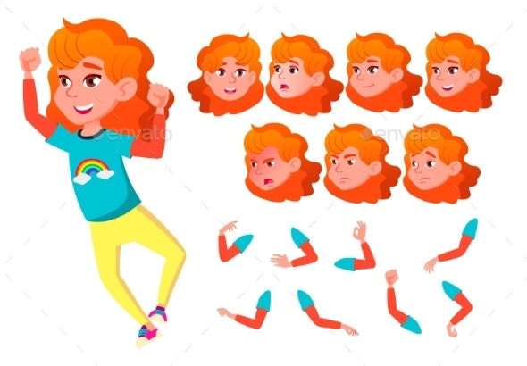Girl, Child, Kid, Teen Vector. Smile. Cute - People Characters
