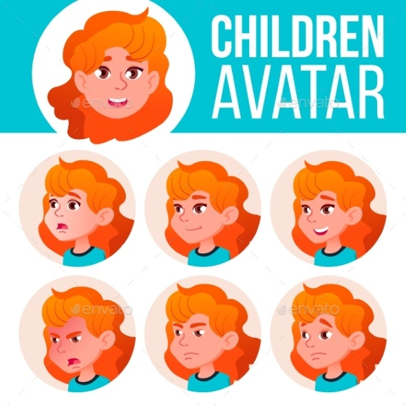 Girl Avatar Set Kid Vector. Primary School. Red - People Characters