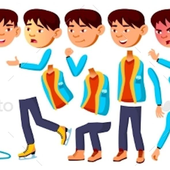 Asian Boy Schoolboy Kid Vector. Primary School