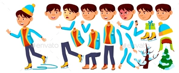 Asian Boy Schoolboy Kid Vector. Primary School - People Characters