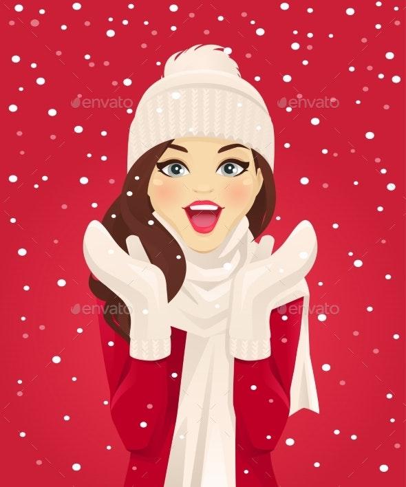 Surprised Woman in Snowfall - People Characters