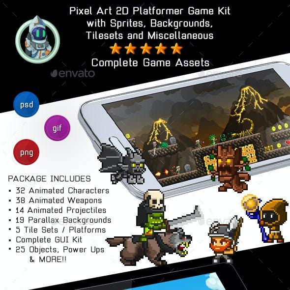 Pixel Art 2D Platformer Video Game Kit Assets
