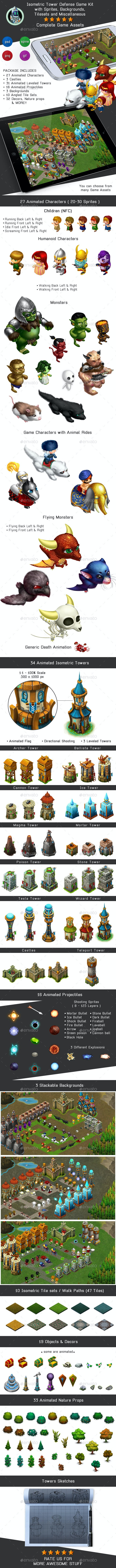 Isometric Tower Defense Game Kit Pack - Sprites, Backgrounds - Game Kits Game Assets