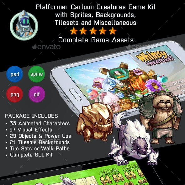 2D Platformer Cartoon Creatures Game Assets Bundle w Sprites