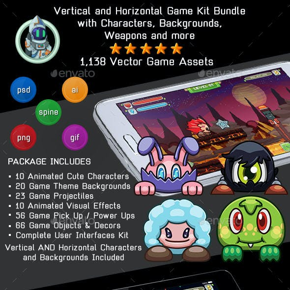 Vector Cartoon Game Kit - Sprites, Backgrounds, UI & More