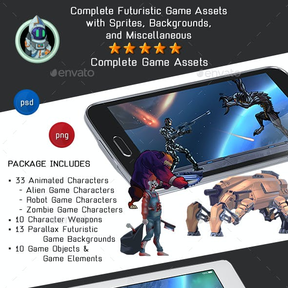 Complete Futuristic Game Assets Pack - Aliens, Robots & Zombies