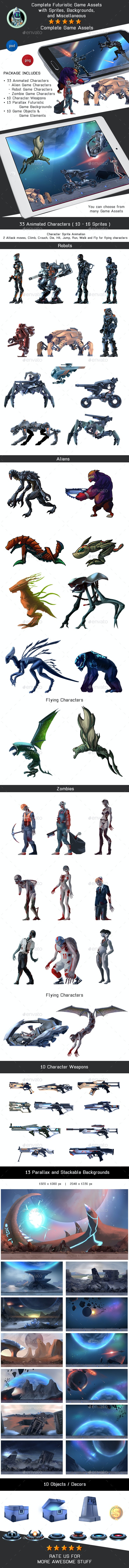 Complete Futuristic Game Assets Pack - Aliens, Robots & Zombies - Game Kits Game Assets