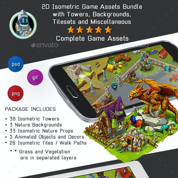 2D Isometric Game Assets Bundle - Towers, Castles, Houses & more