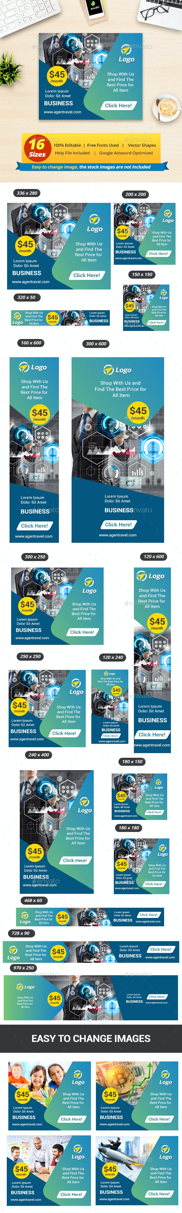 Multipurpose Business Banner Ads Template - Banners & Ads Web Elements