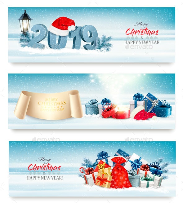 Three Holiday Christmas Banners with Gift Boxes - Miscellaneous Seasons/Holidays