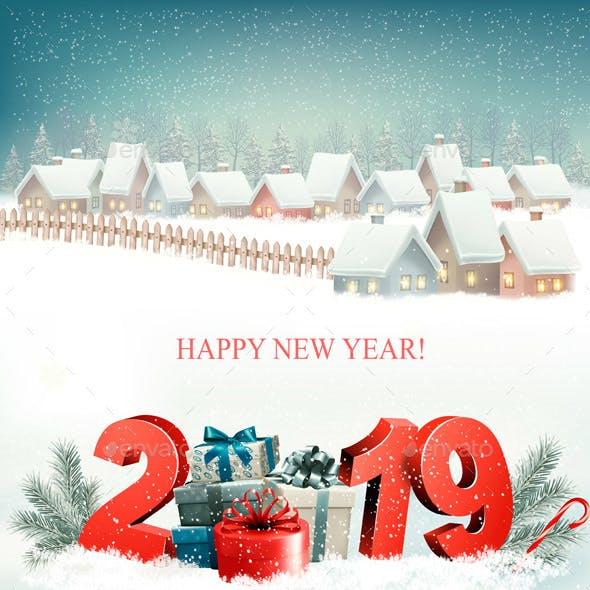 Holiday Christmas Background with 2019