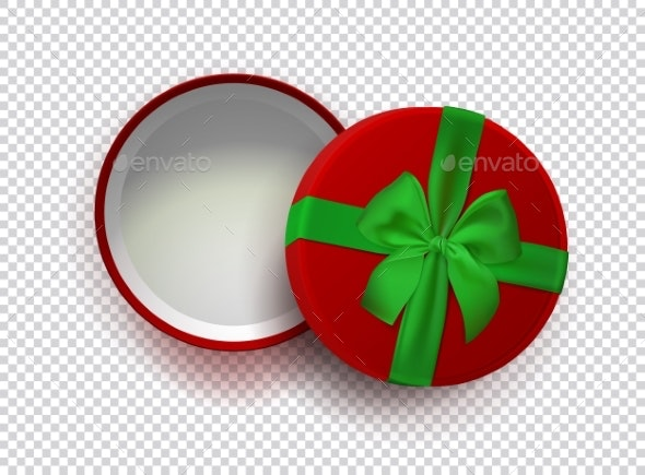 Opened Red Empty Gift Box with Green Ribbon - Man-made Objects Objects