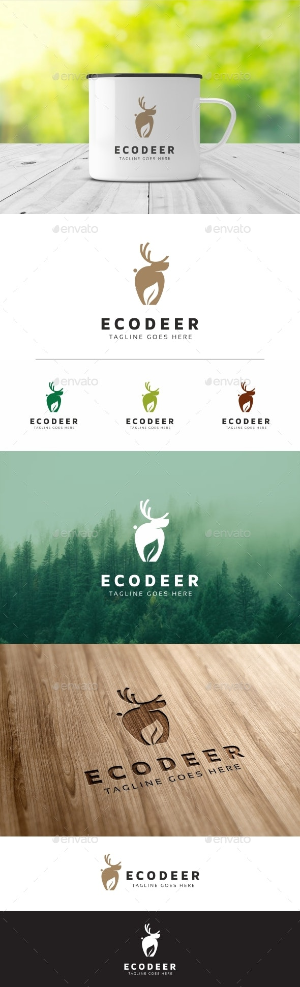 Deer Eco Logo - Animals Logo Templates