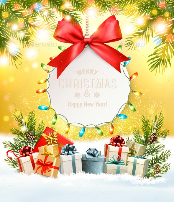 Holiday Christmas Background With Gift Card and Presents - Christmas Seasons/Holidays