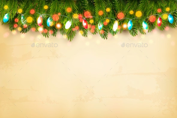 Christmas Holiday Decoration with Branches of Tree and Garland. Vector. - Christmas Seasons/Holidays