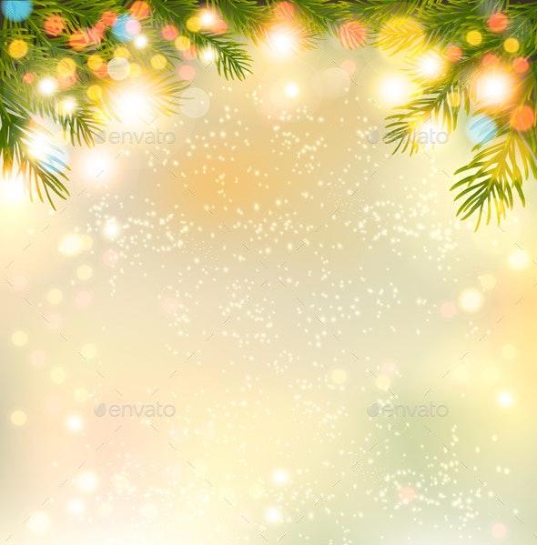 Holiday background with a Christmas Tree and Garland - Christmas Seasons/Holidays
