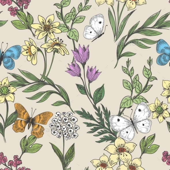 Wildflowers and Butterflies Background - Flowers & Plants Nature