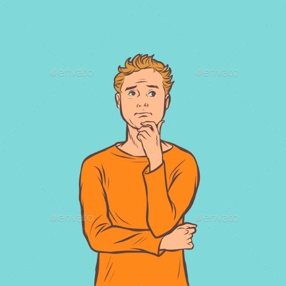 Man Thinks Task Problem Brainstorming - Business Conceptual