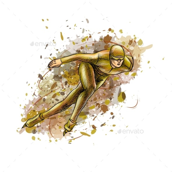 Abstract Speed Skaters From Splash of Watercolors - Sports/Activity Conceptual