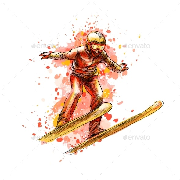 Abstract Jumping Skier From a Splash of Watercolor - Sports/Activity Conceptual