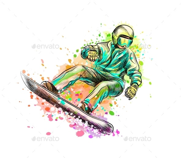 Abstract Snowboarder From a Splash of Watercolor - Sports/Activity Conceptual