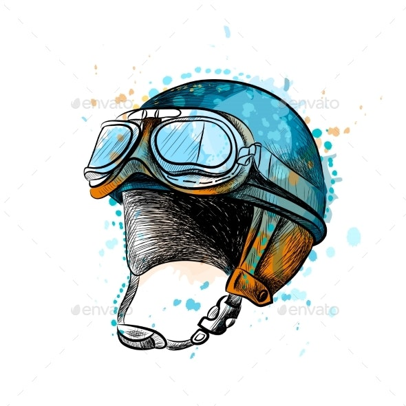 Vintage Motorcycle Classic Helmet with Goggles - Man-made Objects Objects