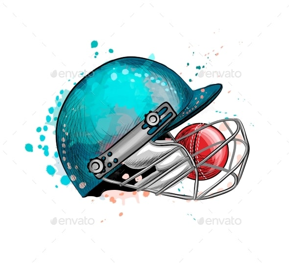 Cricket Helmet with Ball From a Splash - Sports/Activity Conceptual