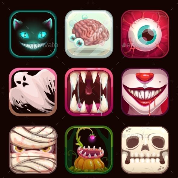 Scary App Icons on Black Background. Creepy Mobile