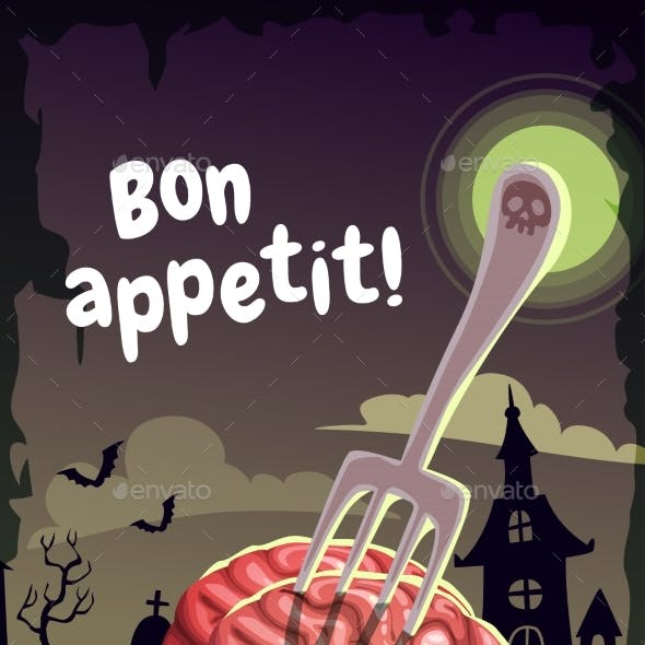 Bon Appetit. Scary Halloween Poster with Creepy