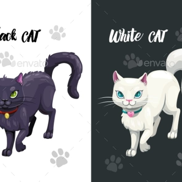 Black and White Cat Icons