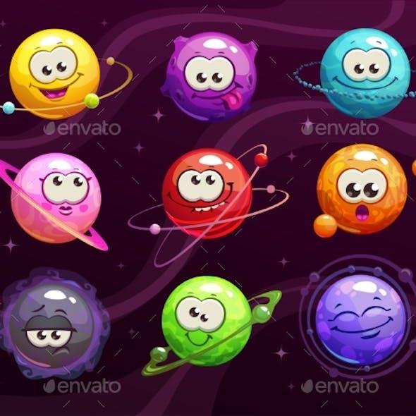 Cartoon Colorful Comic Emoji Planets Set