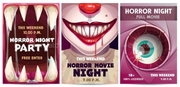 Scary Banners and Posters Set - Miscellaneous Vectors