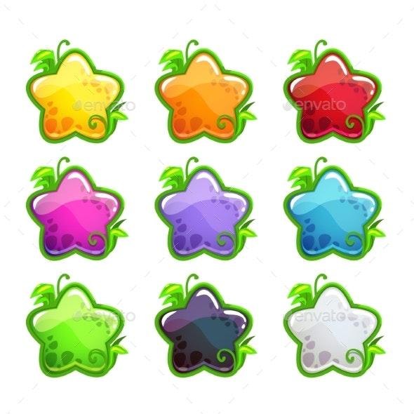 Cartoon Colorful Glossy Stars Set - Decorative Symbols Decorative