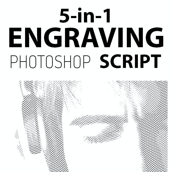 5-in-1 Engraving Photoshop Script