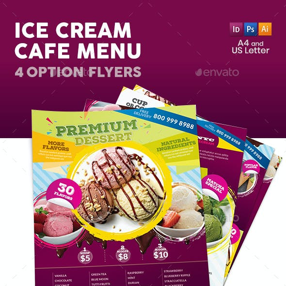 Ice Cream Cafe Flyers – 4 Options