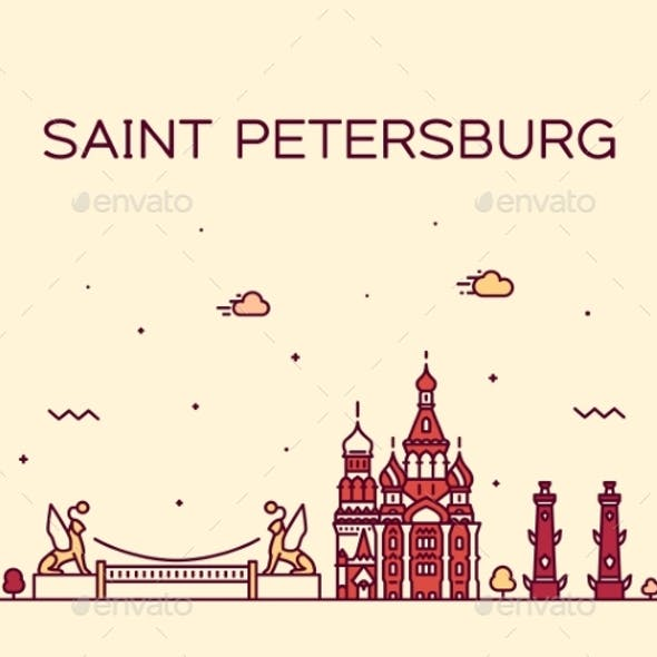 Saint Petersburg Skyline Russia Vector Linear City