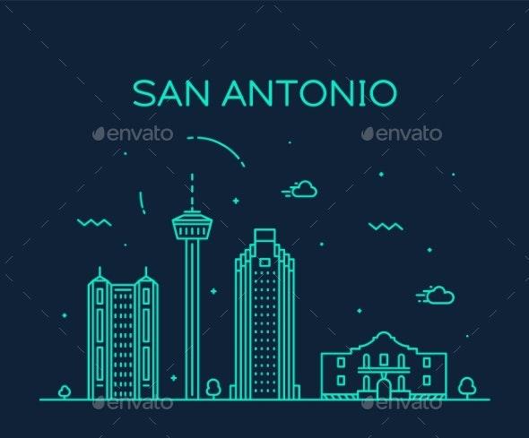 San Antonio City Skyline Texas USA Vector Linear - Buildings Objects