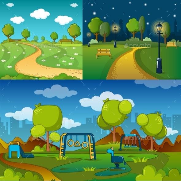 Park Alley Way Banner Concept Set - Landscapes Nature