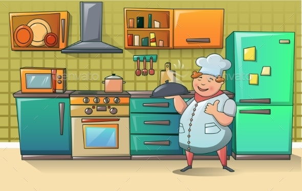 Chef Character Banner - Food Objects
