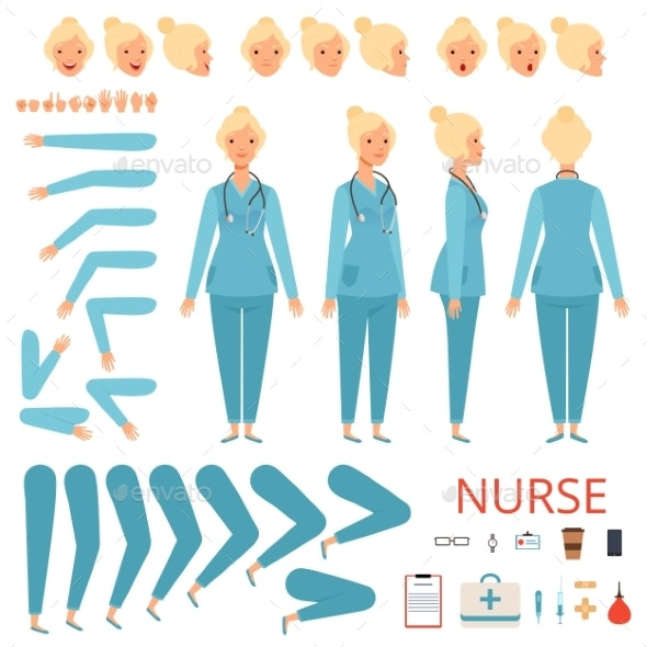 Nurse Animation Character. Hospital Female Doctor - People Characters