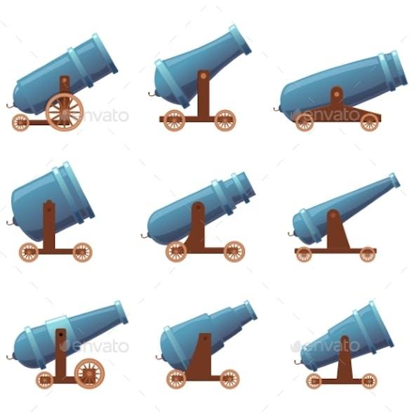 Cannon Retro Guns. Military Pirate Aggression