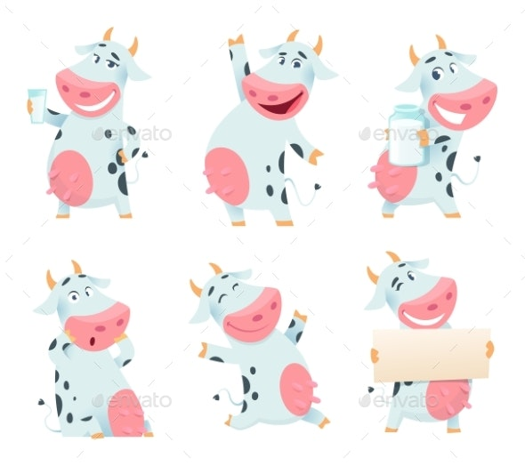Milk Cow Animal. Cartoon Farm Character Eating - Animals Characters