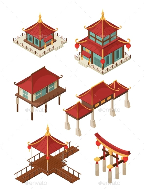 Asian Architecture Isometric. Traditional Chinese - Buildings Objects