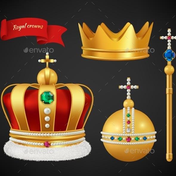 Royal Crowns. Luxury Premium Medieval Gold Symbols