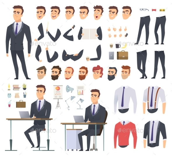 Manager Creation Kit. Businessman Office Person - People Characters