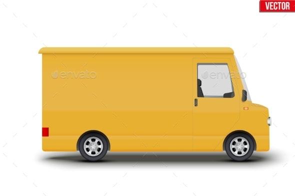 Retro Yellow Postal Van Minibus - Objects Vectors