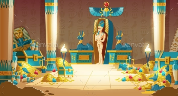 Vector Cartoon Egyptian Tomb - Pharaoh Sarcophagus