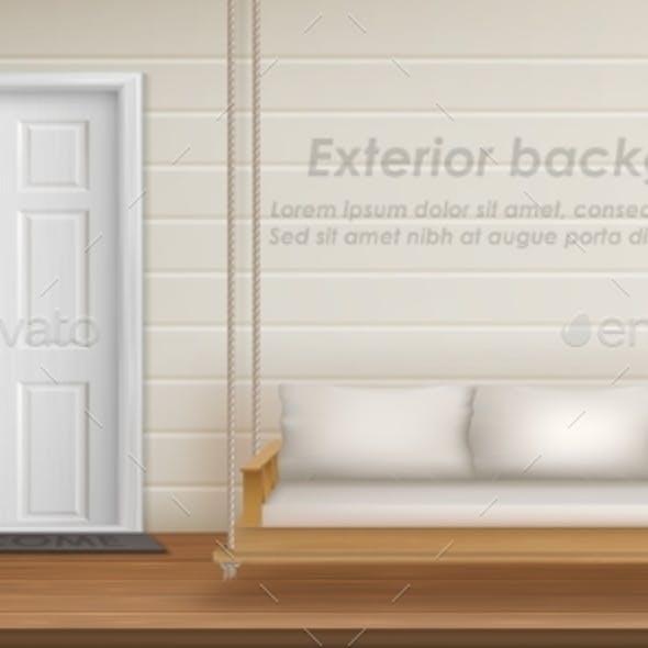 Vector Exterior Background with Veranda Facade