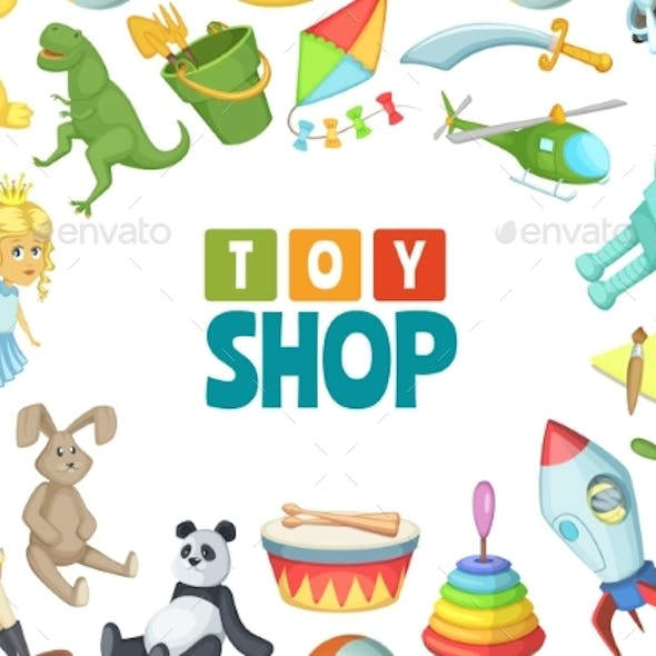 Vector Cartoon Children Toys Background with Place