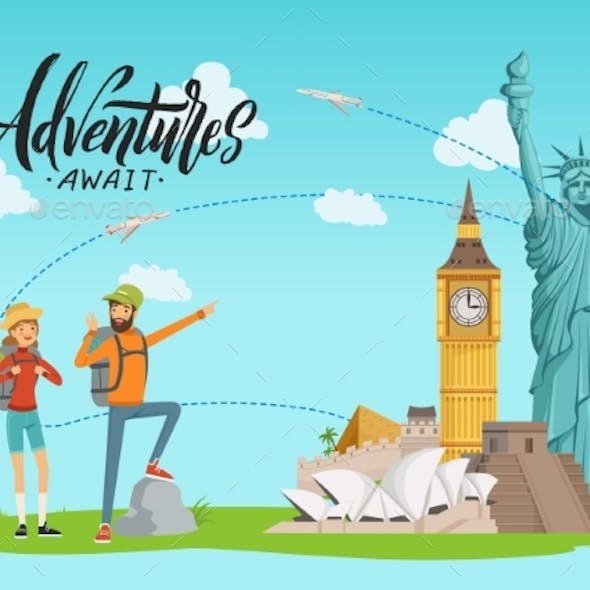 Vector Concept Illustration with World Sights